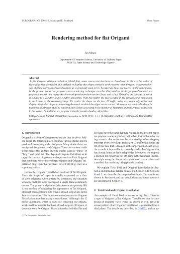 Rendering method for flat Origami - Jun MITANI