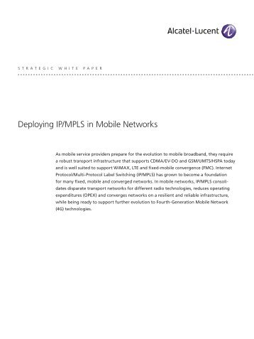 Deploying IP/MPLS in Mobile Networks Strategic White Paper