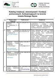 Katalog instytucji pomocowych II (Nowy Sącz)