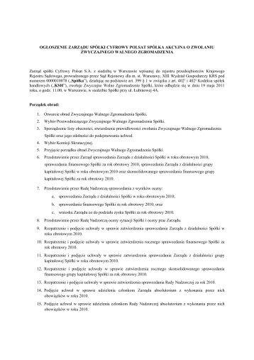 Ogłoszenie o zwołaniu Zwyczajnego Walnego ... - Cyfrowy Polsat