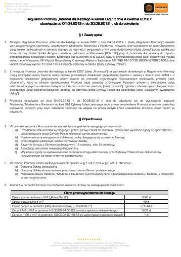 """Regulamin Promocji """"Internet dla każdego w ... - Cyfrowy Polsat"""