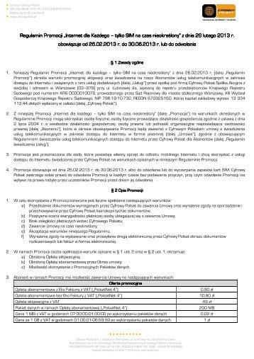Regulamin Promocji Internet dla Każdego - tylko ... - Cyfrowy Polsat