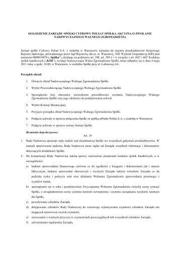 Ogłoszenie o zwołaniu NWZA - Cyfrowy Polsat