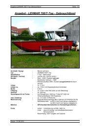 Angebot - LEHMAR 700/T-Top - Gebrauchtboot - Lehmar GmbH