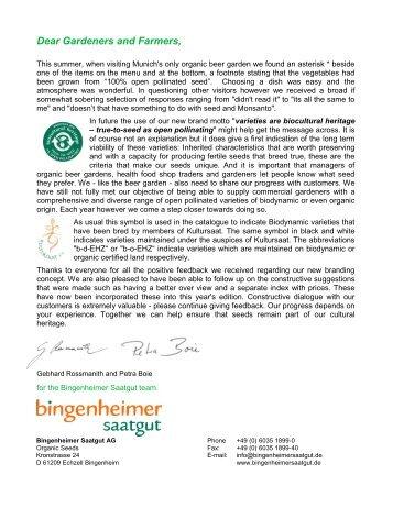 Dear Gardeners and Farmers - Bingenheimer Saatgut AG