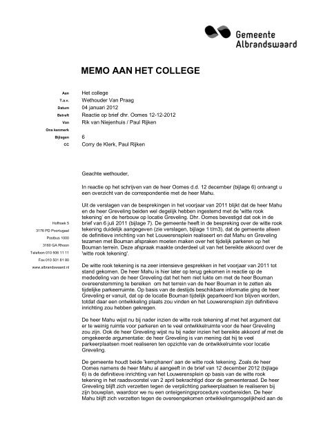 memo aan college discussienota bestemmingsplan  - vergaderingen