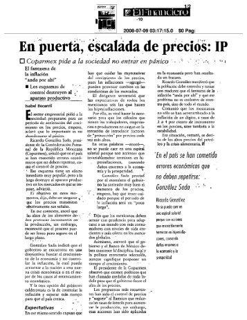 En puerta, escalada de precios: IP - Coparmex
