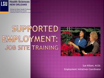 Job Site Training - LSUHSC Human Development Center