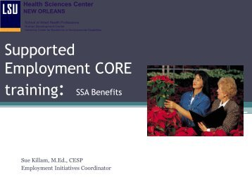 SSA Benefits - LSUHSC Human Development Center