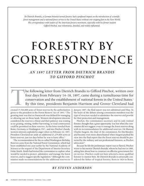 Forestry by Correspondence - The Forest History Society
