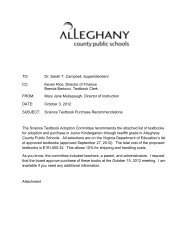 Approval of Science Textbook - Alleghany County Public Schools