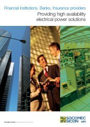 Providing high availability electrical power solutions - Socomec