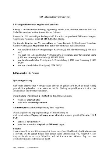 § 19 Allgemeines Vertragsrecht I. Vertragsschluss durch Angebot ...