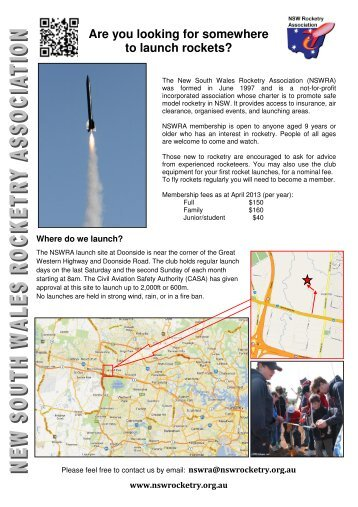 NSWRA 2 page brochure Version 12 - NSW Rocketry Association