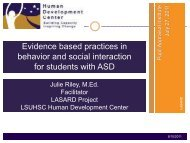 Evidence based practices in behavior and social interaction for ...