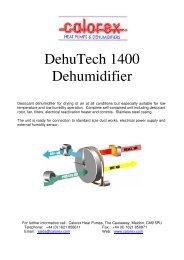 DehuTech 1400 Dehumidifier - Calorex