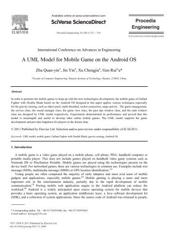 A UML Model for Mobile Game on the Android OS