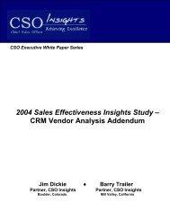 2004 Sales Effectiveness Insights Study - CRM Vendor ... - HighTower