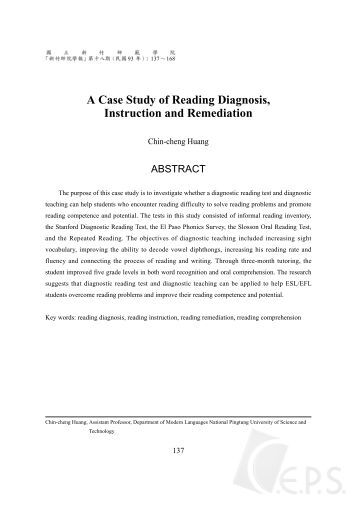 case study impact of reading remediation Improving reading fluency and comprehension among elementary students: evaluation of a school remedial reading program robin hausheer, alana hansen, and diana m doumas.