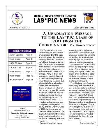 LAS*PIC Newsletter Volume 6 Issue 3 - Mid-Summer 2011