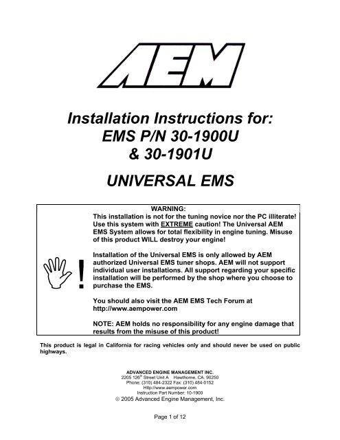 AIT SENSOR AEM Air Temperature Sensor 3//8NPT Intake  30-2010