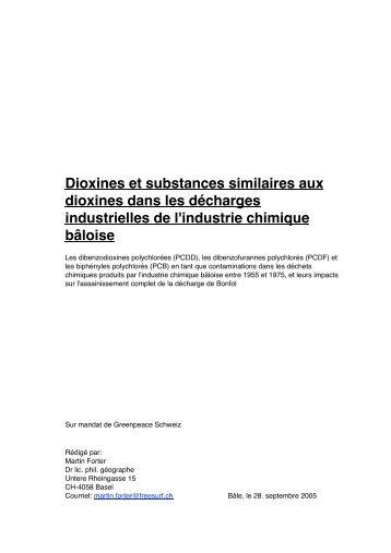 Dioxines et substances similaires aux dioxines ... - Pro Natura Jura