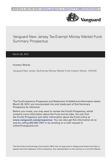 Vanguard New Jersey Tax-Exempt Money Market Fund Summary ...