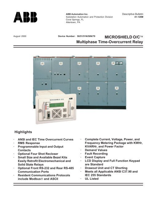 MICROSHIELD O/Cä Multiphase Time-Overcurrent Relay - Abb
