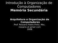 Introdução à Organização de Computadores Memória Secundária