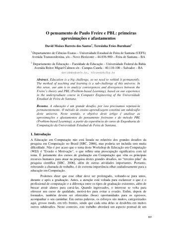 O pensamento de Paulo Freire e PBL: primeiras aproximações e ...