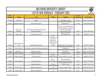 abu dhabi university library list of new arrivals - february 2013