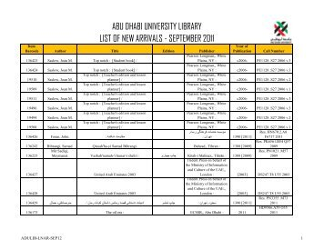 abu dhabi university library list of new arrivals - september 2011