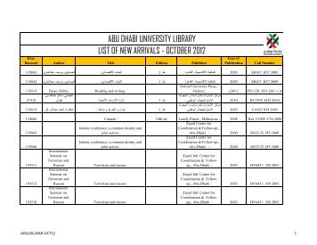 abu dhabi university library list of new arrivals - october 2012