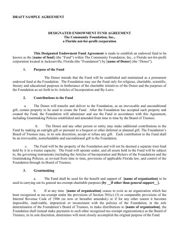 Donor Advised Fund Agreement #2 (00139400.DOC;1)