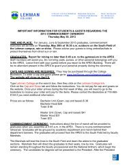 IMPORTANT INFORMATION FOR STUDENTS ... - Lehman College