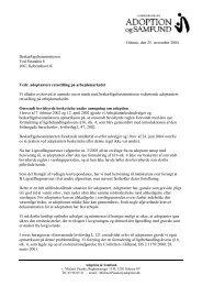 Beskæftigelsesministeren - Adoption og Samfund
