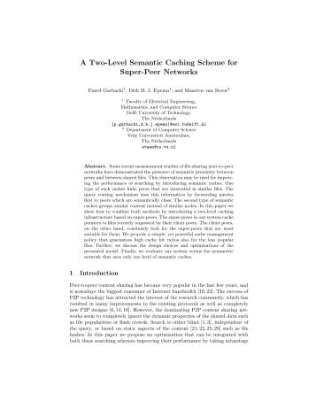 A Two-Level Semantic Caching Scheme for Super-Peer Networks