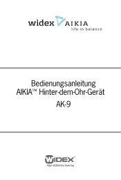 Bedienungsanleitung AIKIA™ Hinter-dem-Ohr-Gerät AK-9 - Widex