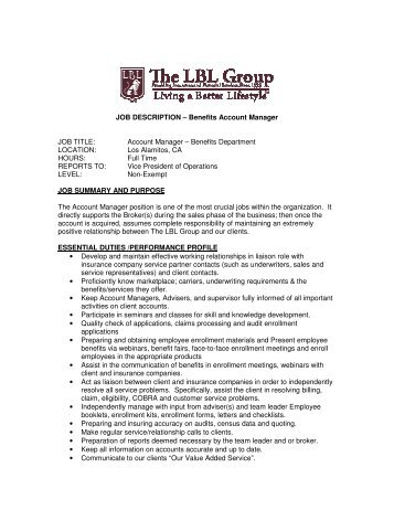 JOB DESCRIPTION U2013 Benefits Account Manager JOB ...   LBL Group