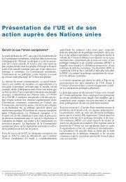 Présentation de l'UE et de son action auprès des Nations unies