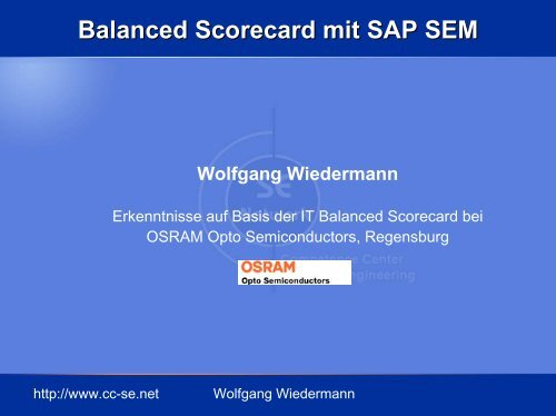 Balanced Scorecard mit SAP SEM Wolfgang Wiedermann