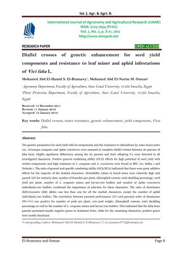 Diallel crosses of genetic enhancement for seed yield components and resistance to leaf miner and aphid infestations of Vici faba L.