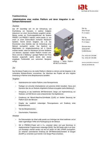 Inbetriebnahme einer mobilen Plattform und deren Integration ... - IAT
