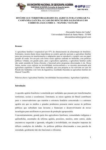 dinâmicas e territorialidades da agricultura familiar na ... - LAGEA