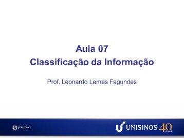 Aula 07 Classificação da Informação - Unisinos