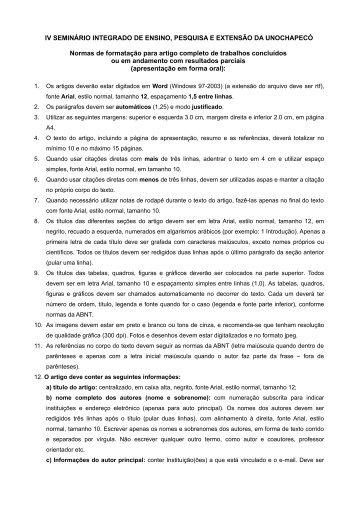 IV SEMINÁRIO INTEGRADO DE ENSINO, PESQUISA ... - Unochapecó