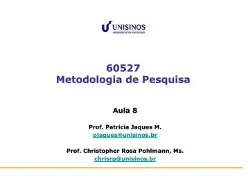 60527 Metodologia de Pesquisa - Unisinos