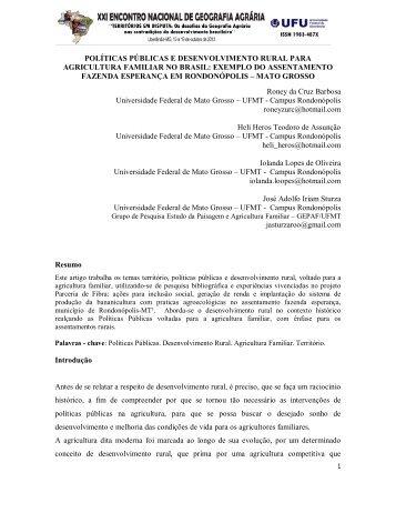 políticas públicas e desenvolvimento rural para agricultura ... - LAGEA