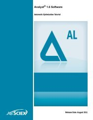 Analyst® 1.6 Software Automatic Optimization Tutorial - AB Sciex