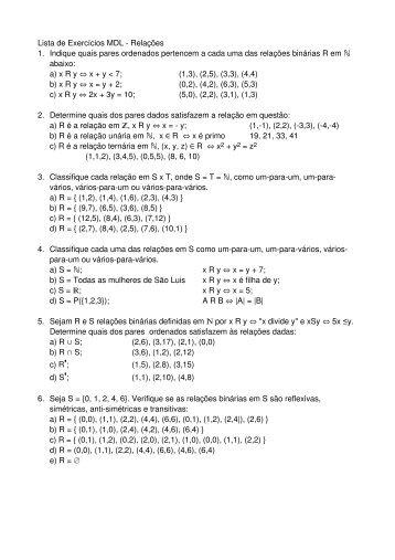 Lista de Exercícios MDL - Relações 1. Indique quais ... - DEINF/UFMA